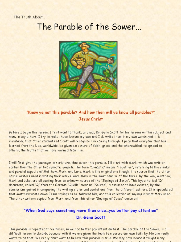 The Truth About    The Parable of the Sower | Gospel Of Mark