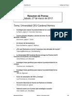 Resumen Prensa CEU-UCH 27-04-2013