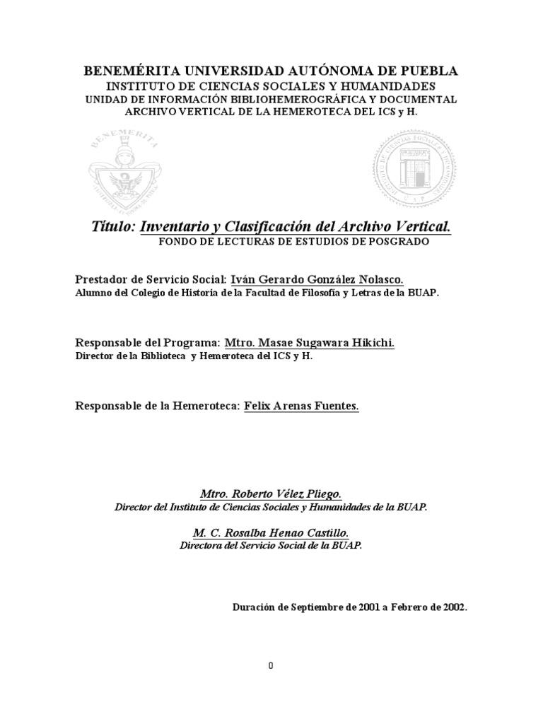 Catalogo Del Archivo Vertical Del ICSyH BUAP 2002