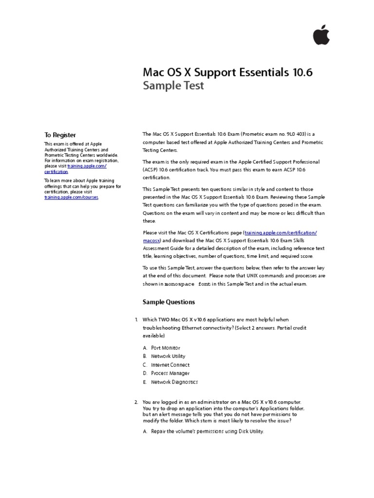 Support Essentials Sample Test 106 Mac Os X Snow Leopard Test