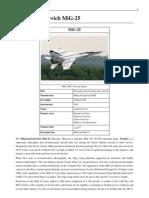 Mikoyan Gurevich MiG 25