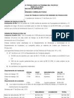 EJERCICIO DE APLICACIÓN HOJA DE TRABAJO COSTOS POR ORDENES DE PRODUCCIÒN