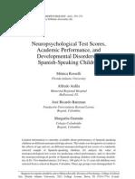 Neuropsychological Test Scores, Academic Performance, and Developmental Disorders in Spanish-Speaking Children