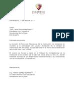 Carta para invitar a reconocimiento por usuario del año de la unidad de información
