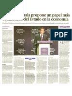 Ollanta Humala propone un papel más equilibrado del Estado en la economía.