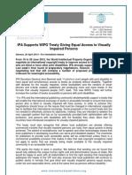 WIPO VIP Instrument IPA Press Release 29-04-13
