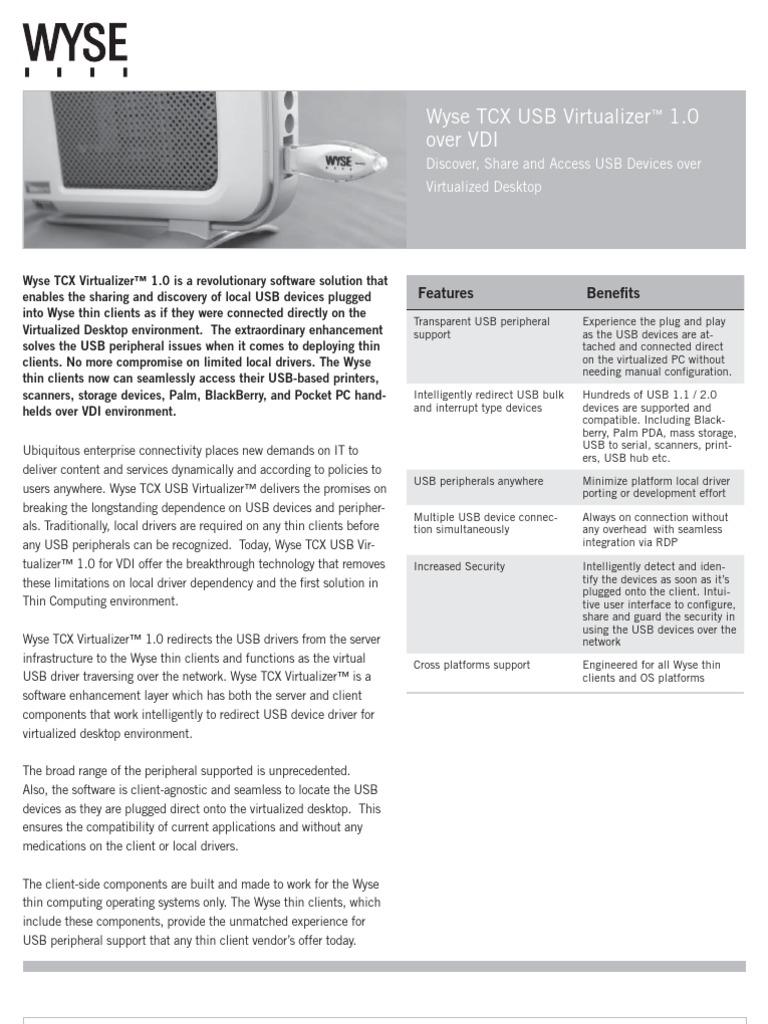 Wyse TCX USB Virtualizer   Desktop Virtualization   Usb