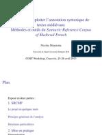 Nicolas Mazziotta, Réaliser et exploiter l'annotation syntaxique de textes médiévaux. Méthodes et outils du Syntactic Reference Corpus of Medieval French