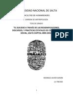 El Suicidio a Traves de Las Resignificaciones Discursos y Practicas Estatales de Contencion Social Salta 2005 - 2010