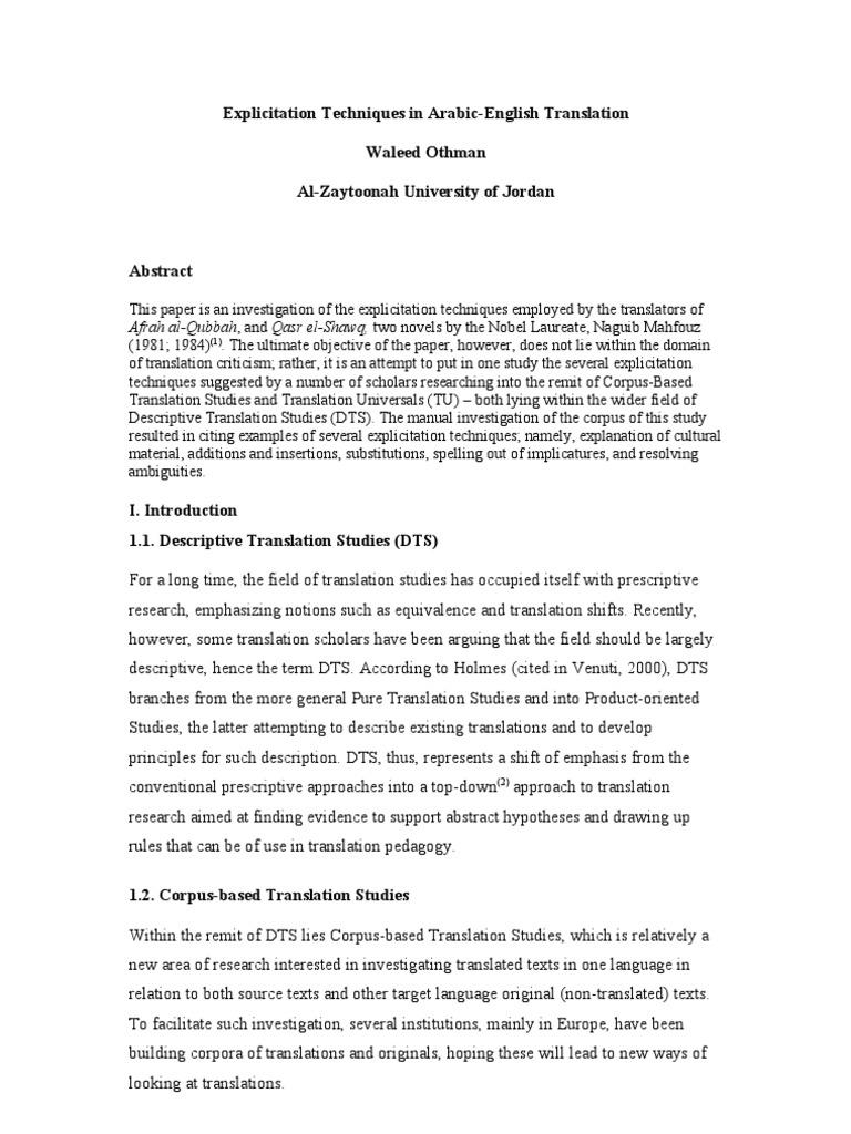 Explicitation Techniques in Arabic-English Translation