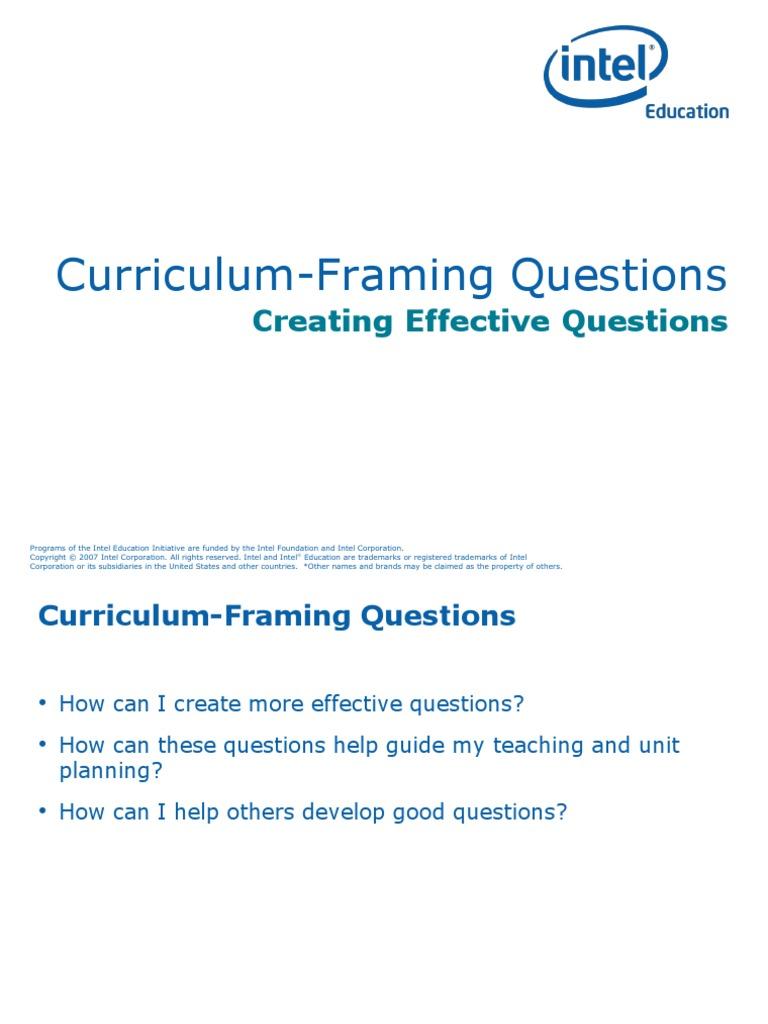 2 Curriculum-Framing Questions-Part 2 | Trademark | Intel