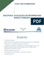 AVALIAÇÃO DE PROPRIEDADES RURAIS E URBANAS_AULA 01