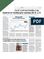 El dólar llegó a 2.65 en Ocoña y en bancos se vendía por encima de 2.71