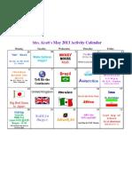 Activity Calendar May 2013 Kraft