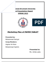 Marketing Plan on Paper Tablet(1)