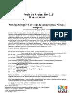 Boletín 019_ Asistencia Técnica de la Dirección de Medicamentos y Productos Biológicos