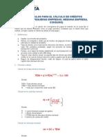 Formulas Calculo Creditos
