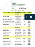 Department of National Defense Official Directory - As of 30 April 2013