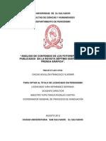 Análisis de contenido de los fotoreportajes publicados  en la Revista Séptimo Sentido de La Prensa Gráfica