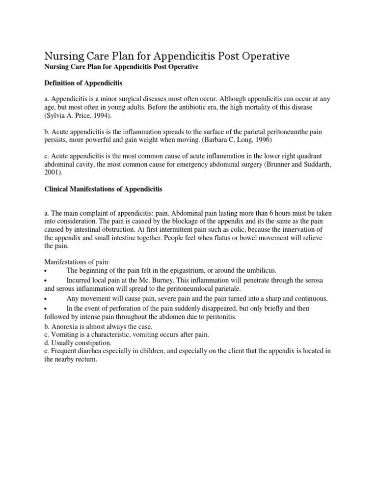 Nursing Care Plan for Appendicitis Post Operative | Nausea ...