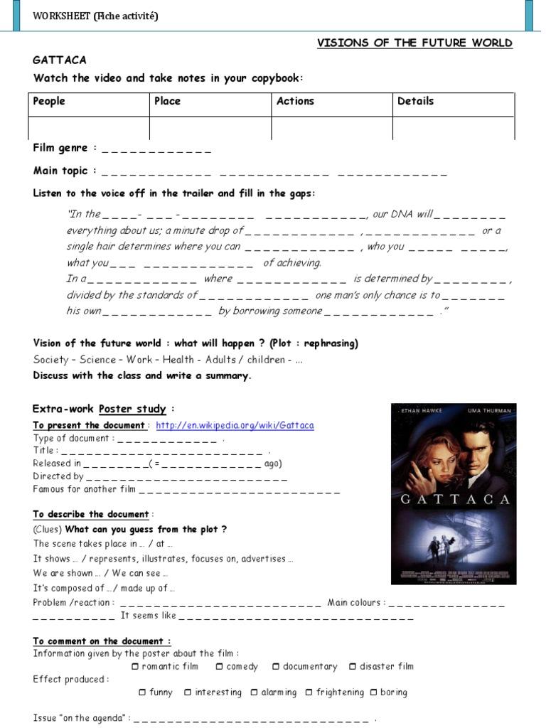 Worksheets Gattaca Worksheet gattaca film activity worksheet