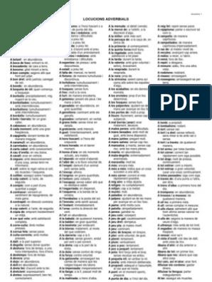Llistat De Locucions Adverbials Frases Fetes I Barbarismes
