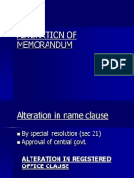 Alteration of Memorandum