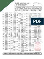 2013 Price List