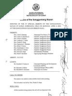 Minutes of Sangguniang Bayan April 2012
