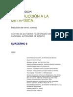 Bergson - Introduccion a La Metafisica