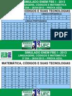 I SIMULADO FBE ENEM 2013 - GABARITO - 2-¦ DIA PROVA AZUL.pdf