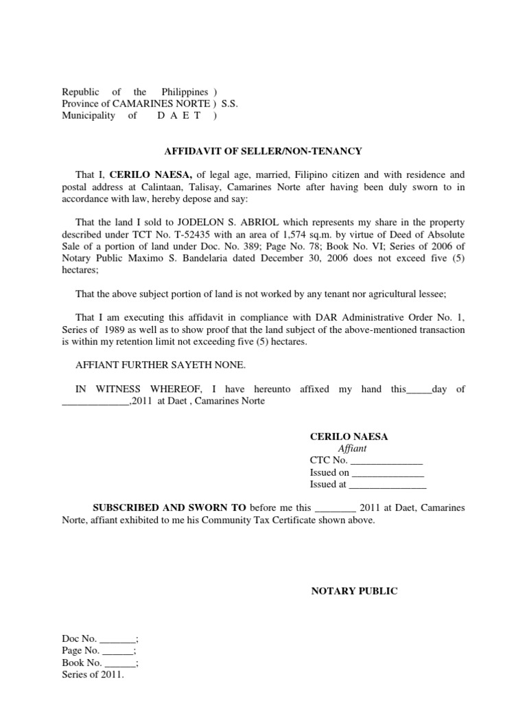 vesting certificate template - affidavit of seller non tenancy