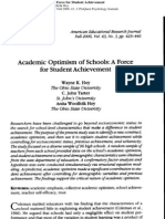 Academic Optimism of Schools, A Force for Student Achievement