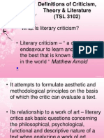 Definitions of Criticism, Theory & Literature