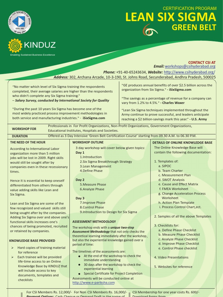 Kinduz Lean Six Sigma Green Belt Six Sigma Design For Six Sigma