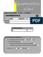 Prova de Matemática 2º ano - 2º período