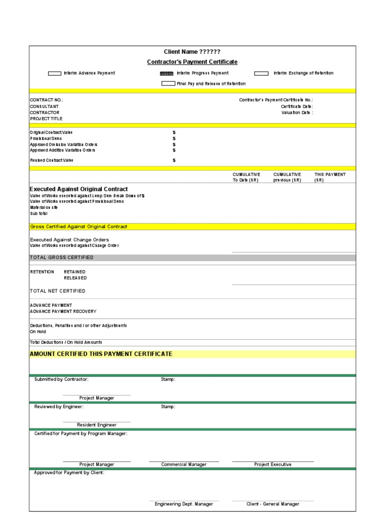 construction payment certificate template - payment