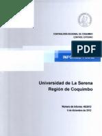 Informe Final 40-12 Universidad de La Serena Auditoria de Transferencias Por Becas Estudiantiles y Fondos Centrales de Investigacion- Diciembre 2012 (1)