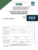 Planilla de solicitud de crédito para la Micro, Pequeña y Mediana Empresa
