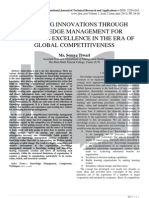 MANAGING INNOVATIONS THROUGH KNOWLEDGE MANAGEMENT FOR SUSTAINING EXCELLENCE IN THE ERA OF GLOBAL COMPETITIVENESS