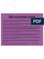 Related Skills and Experience