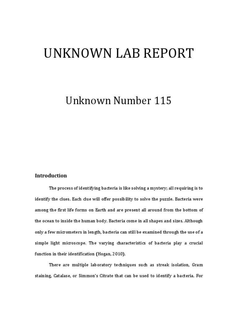 ?gram negative unknown lab report essay Unknown lab report unknown number 109 tyler wolfangel april 29, 2014 bio 203-604 introduction the study of microbiology requires not only an academic understanding of the microscopic world but also a practical understanding of lab techniques and procedures used to identify, control, and manipulate microorganisms.