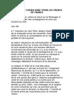 Conseil de Cheikh Rabi' Pour Les Freres de France