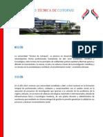 MISIÓN Y VISIÓN UNIVERSIDAD TÉCNICA DE COTOPAXI