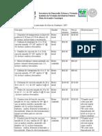 Lista de Costos Promedio Para Mano de Obra