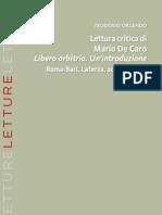 Orlando Teodoro - Lettura Critica Di Liberio Arbitrio Di Mario de Caro