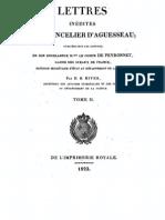Lettres inédites du chancelier d'Aguesseau T. 2