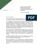 HOLLANDE F. - Lettre de Thierry LEPAON - Secrétaire général de la CGT 26-04
