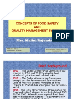 Concepts Of Food Safety And Qms Hazard Analysis And