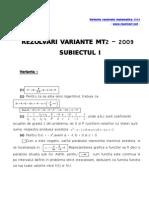 Variante rezolvate matematica 2009